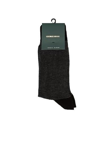 George Hogg George Hogg Çizgili Erkek Çorap Siyah